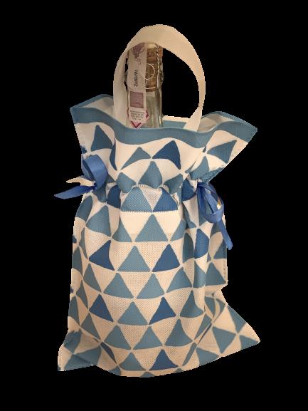 niebiesko-biały worek na prezent